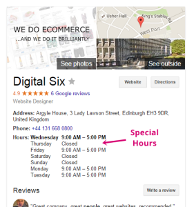Google my business special hours feature digital six special hours web view sciox Image collections