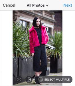 Uploading multi-image post on Instagram