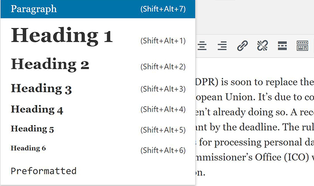How to select headings in WordPress