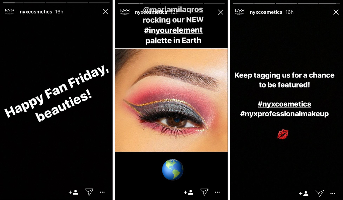 NYX Costmetics Stories example