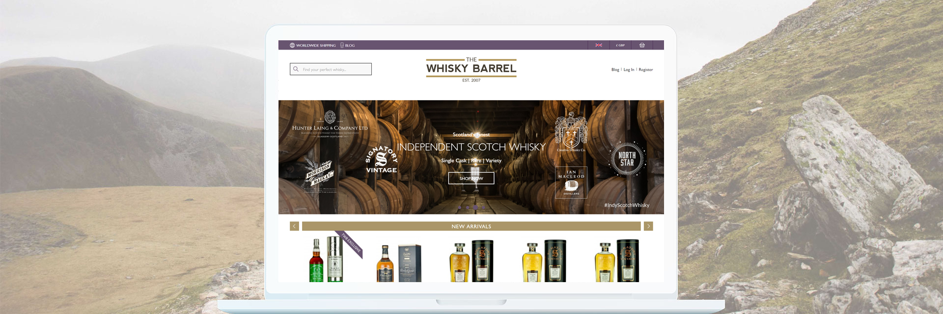 The Whisky Barrel Homepage Design
