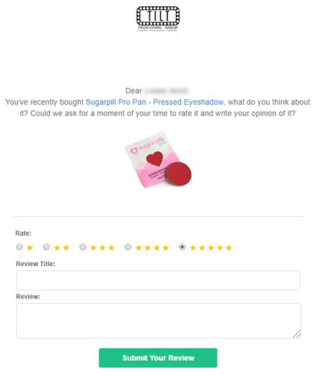 Tilt Makeup review email