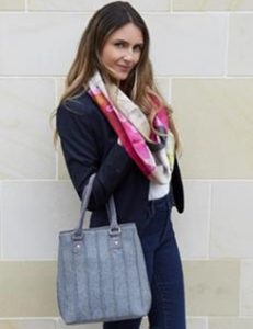 GREY WOOL SOPHIE BAG AND GREY PURPLE PARIS SCARF