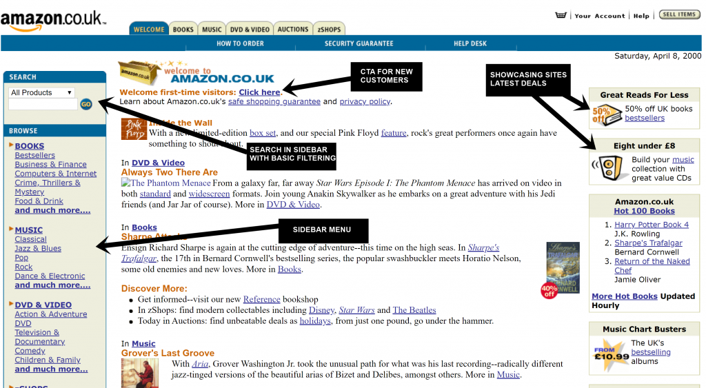 The Amazon Homepage in 2000