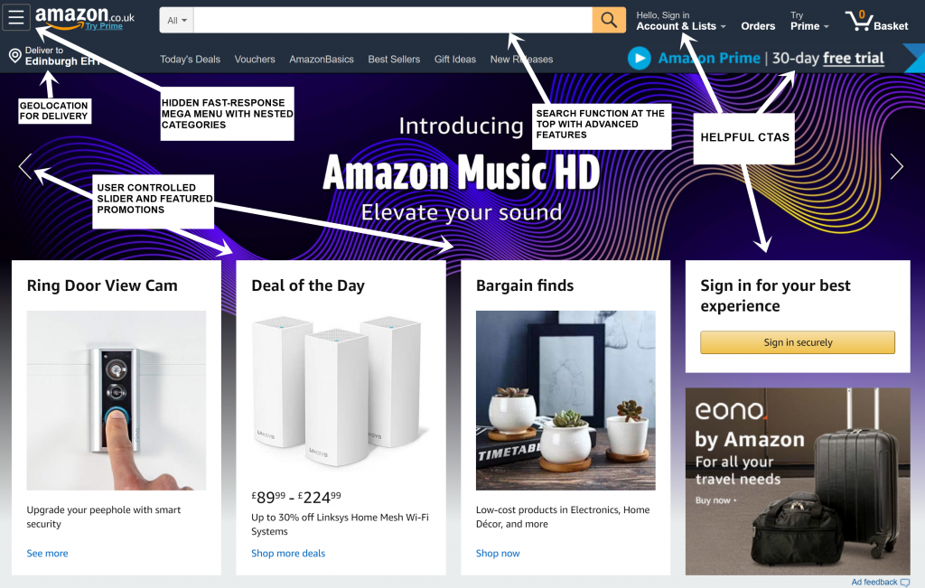 The Amazon Homepage in 2019