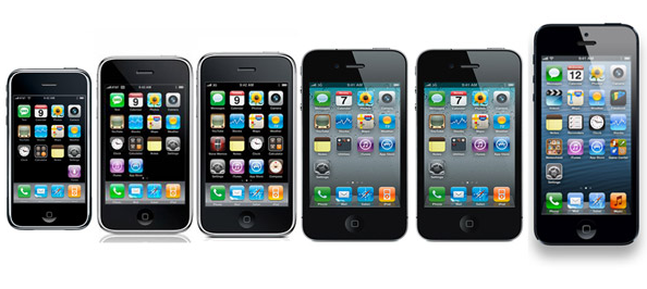 iPhones Through the Ages Screenshot from Apple.com